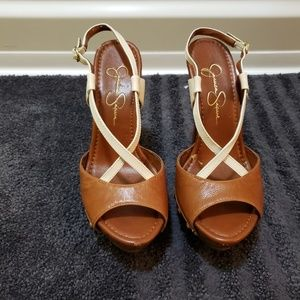 Summer Brown & white platform heels